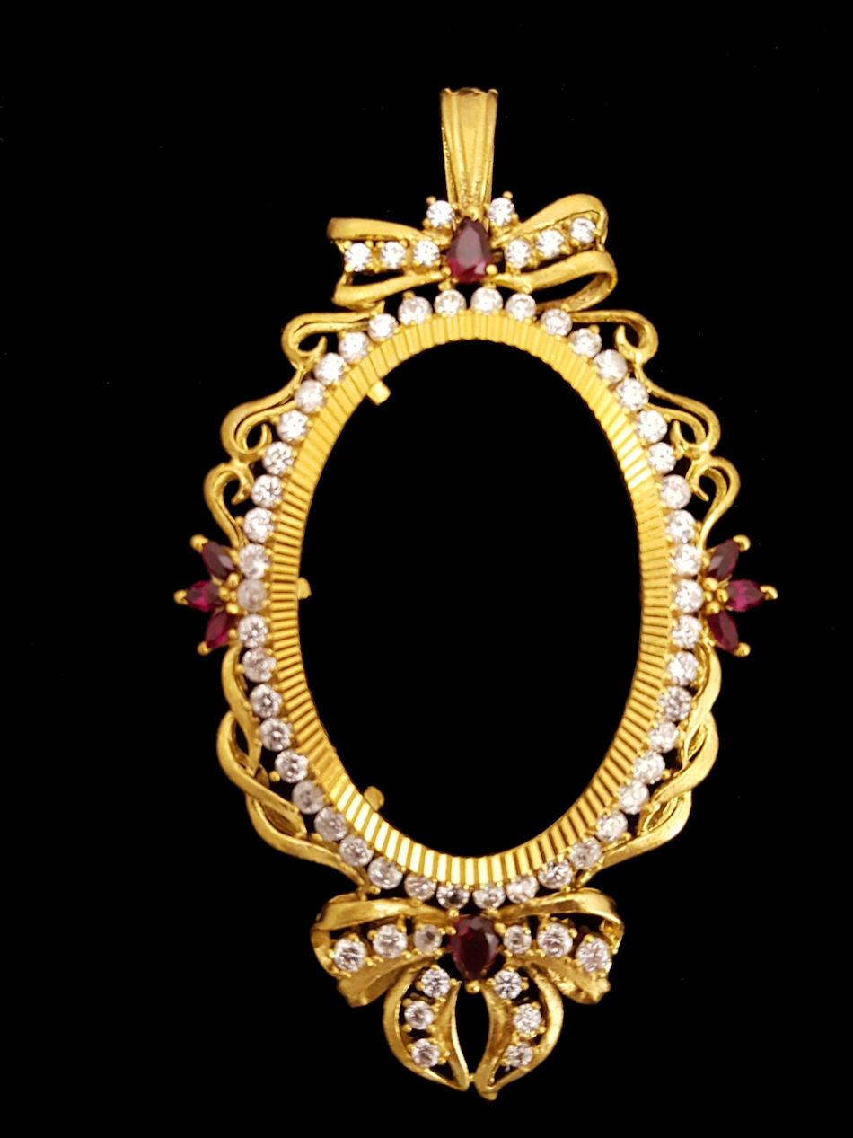 21k gold oval oz frame (1742) – Alquds Jewelry