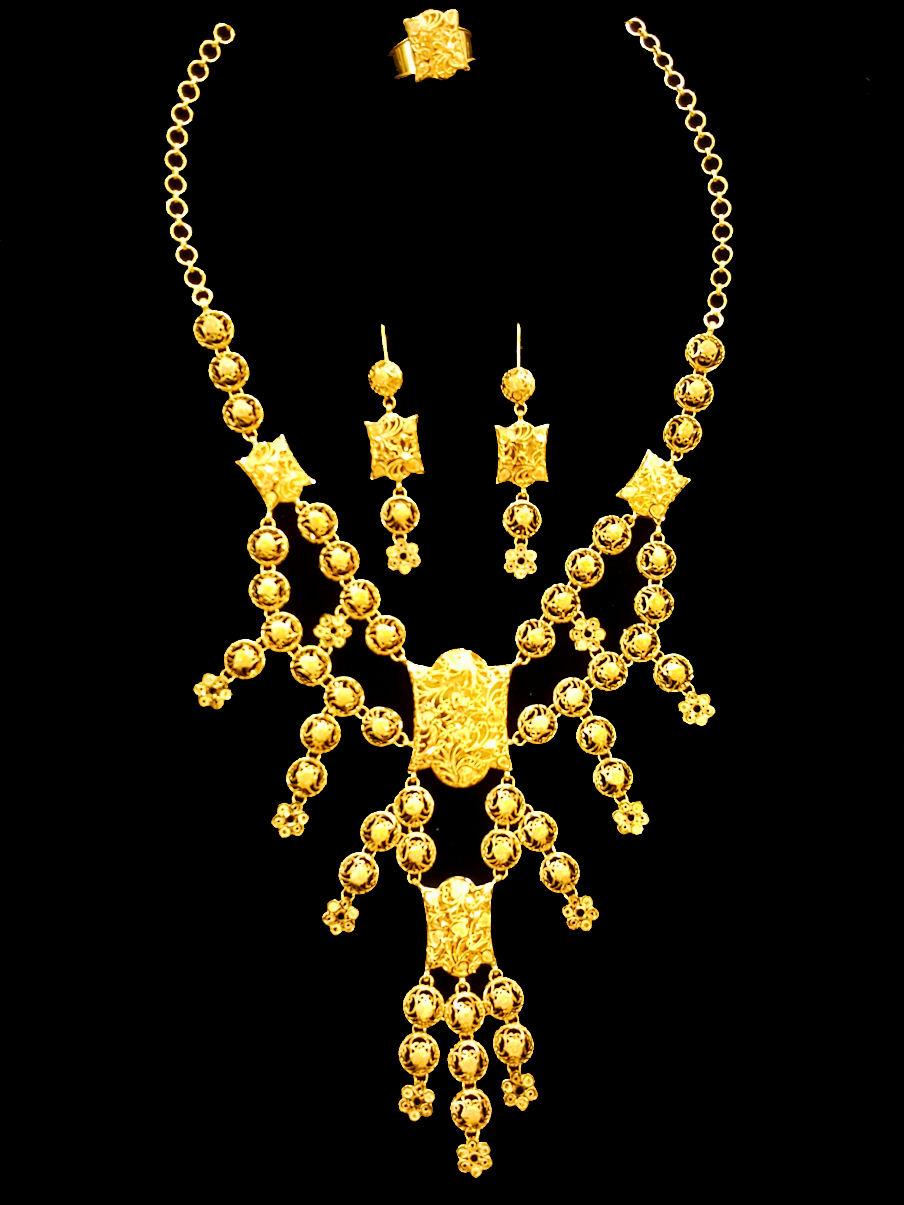 21k Gold Kuwaiti Necklace Set 2572 Alquds Jewelry