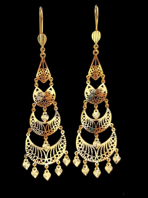 Yellow Gold Earrings Alquds Jewelry
