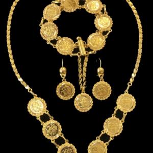 21kgold coin necklace set 4434